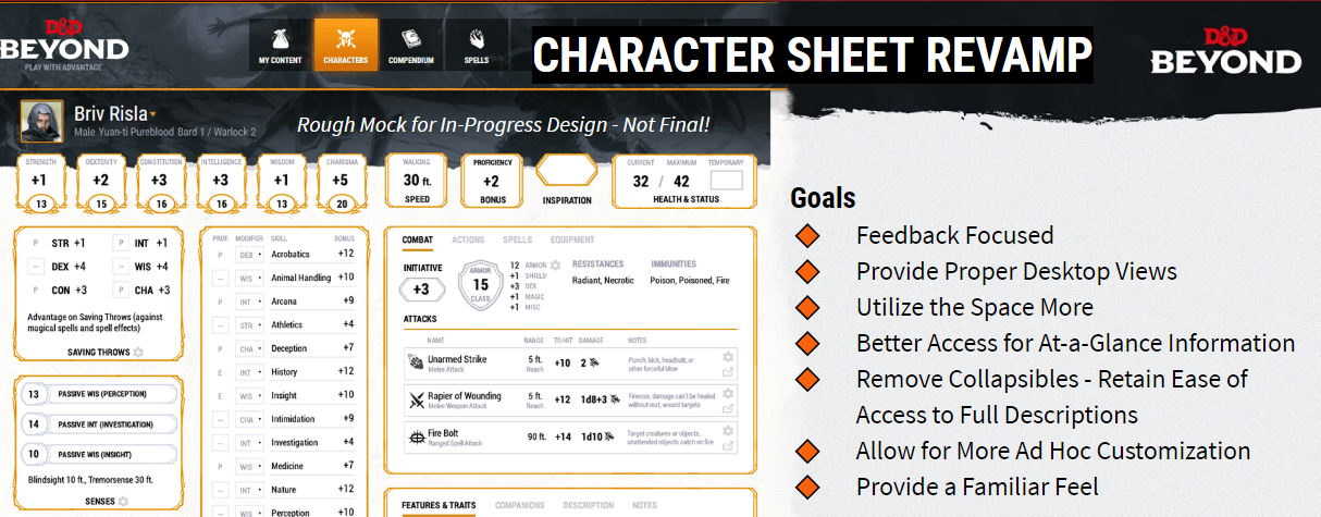 Character Sheet Revamp Changelog D D Beyond Artificer barbarian bard cleric druid fighter monk paladin ranger rogue sorcerer warlock wizard. character sheet revamp changelog d