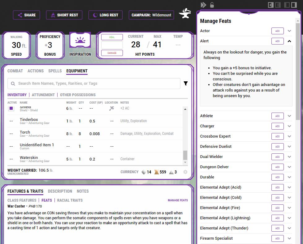 Pathfinder Character Creation App