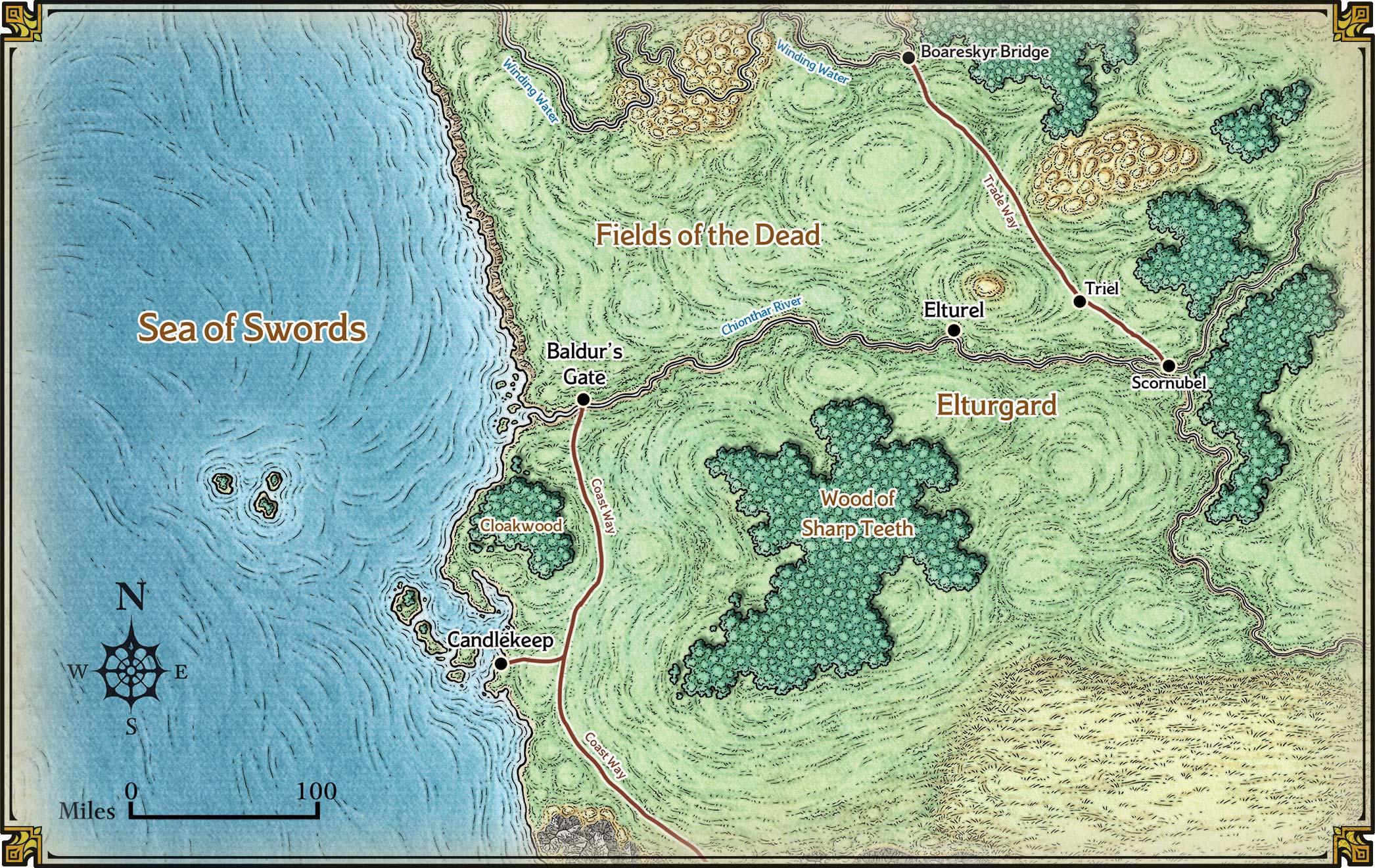 Karte von Baldur's Gate und Umgebung